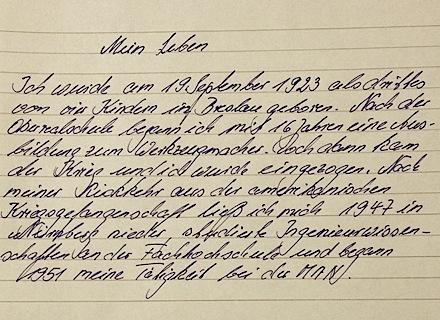 handgeschriebener text von heinz k ber seine erwerbsbiographie