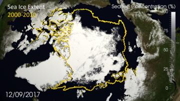 Veränderungen der Meereseisflläche von 2000 bis 2010