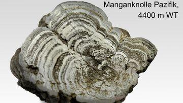 Aufnahme einer Manganknolle aus dem Pazifik