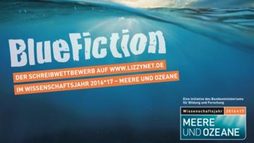 """Logo des Schreibwettbewerbs """"BlueFiction"""""""