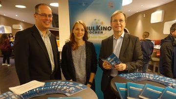 Abschluss der Schulkinowochen in NRW. Herr Dr. Köster, Frau Dömel und Herr Rachel (v.l.)