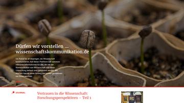 Foto, das die neue Website wissenschaftskommunikation.de zeigt.