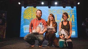 Darstellung der Erstplatzierten des Science Slam Finales